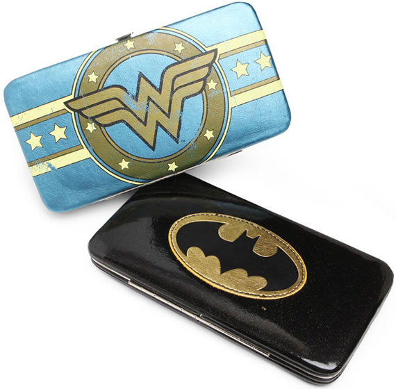 Superheroine Hinge Wallets feature Batman and Wonder Woman