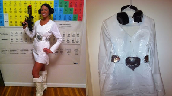 Princess Leia outfit crafted entirely out of duct tape