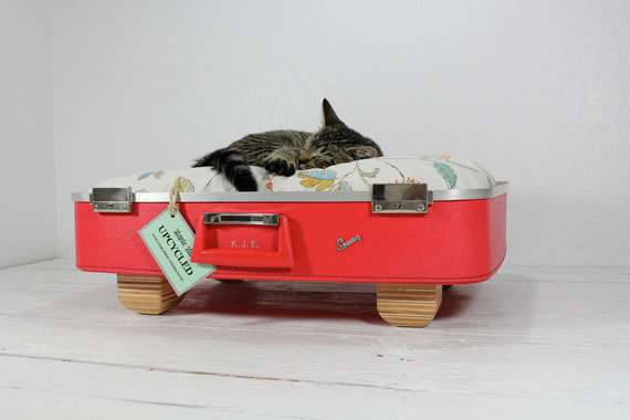 Upcycled Vintage Red Suitcase Pet Bed is super comfy