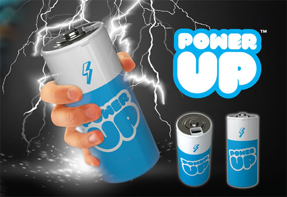 Power Up travel Mug looks like a battery