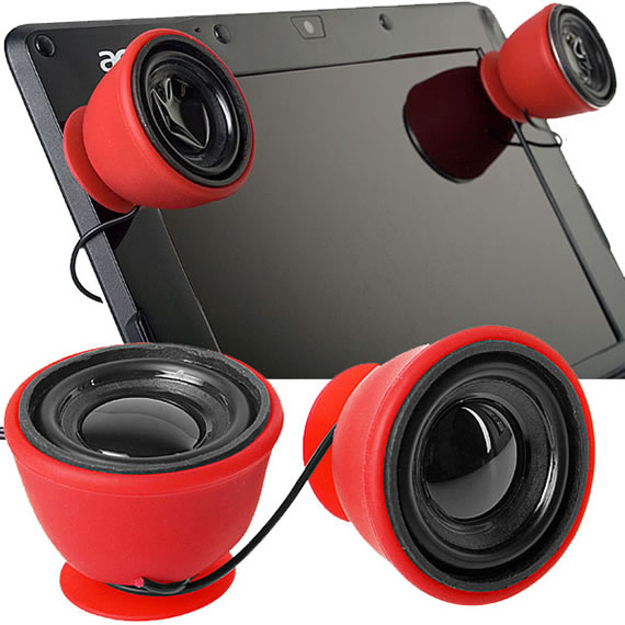 USB Portable Mini Stereo Suction Mount Speakers rock your world