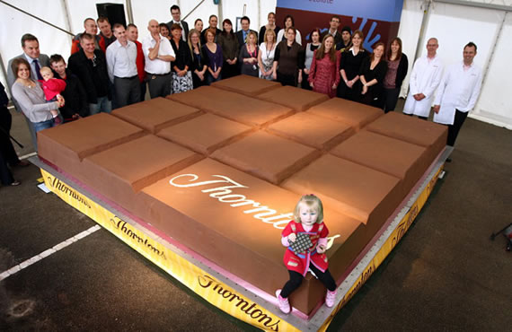 World's largest chocolate bar weighing 12.770 lbs smashes recently set Guinness Records