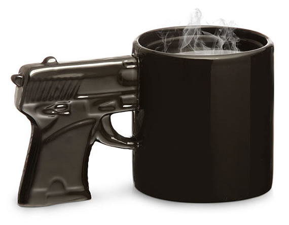 Gun Mug for a blasting wake up call