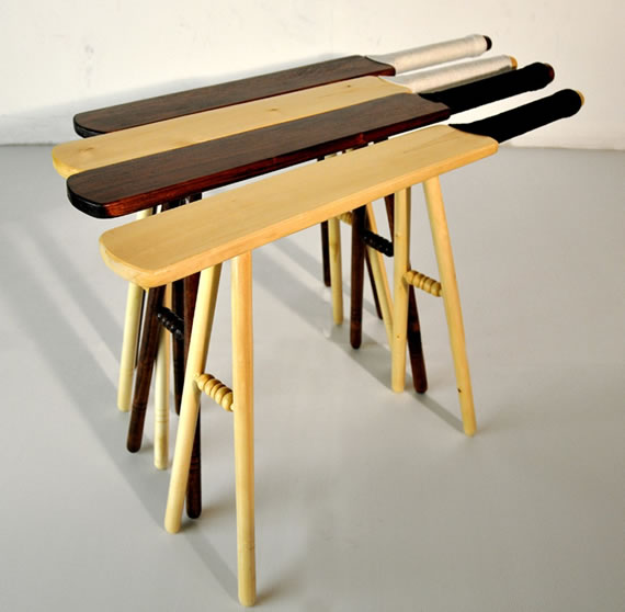 Cricket bat transformed into piece of furniture