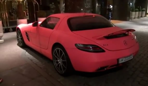 Matte pink Mercedes SLS AMG shows up in London