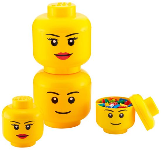 LEGO Storage Heads can be stacked to create a totem pole of storage
