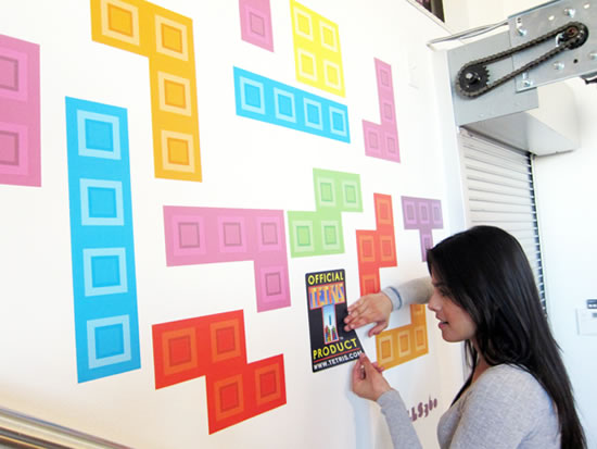 Tetris Wall graphics from Wall360 light up your room