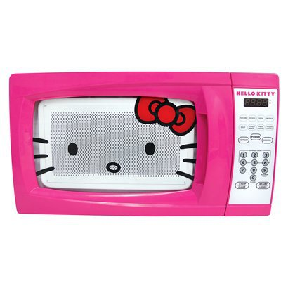 Blush up your kitchen with the Hello Kitty Microwave in pink