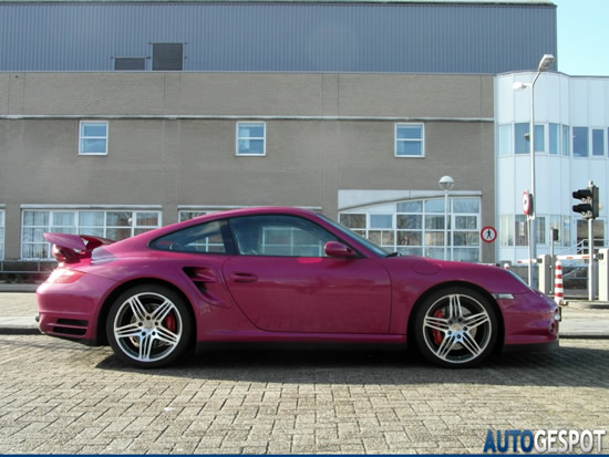 Porsche 997 Turbo Mkl in bubblegum pink spotted on the streets of Netherlands