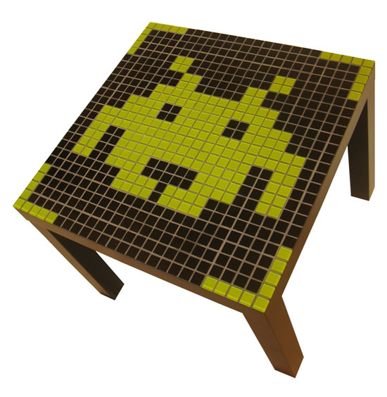 Pac Man and Space Invaders retro pixel mosaic coffee tables
