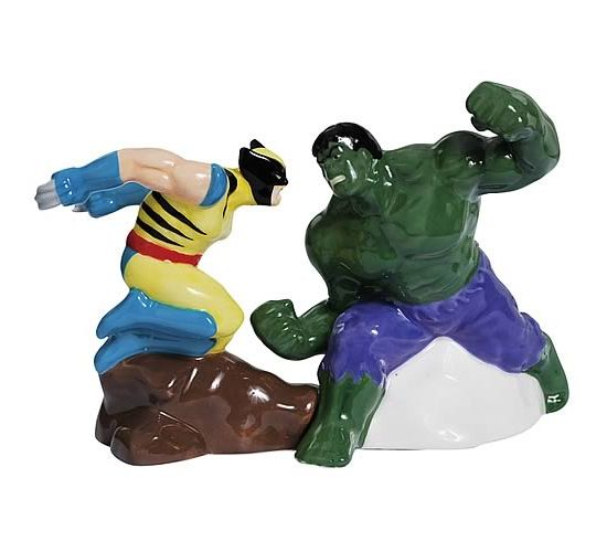 Marvel Incredible Hulk vs. Wolverine Salt and Pepper Shaker set for your fun food battles