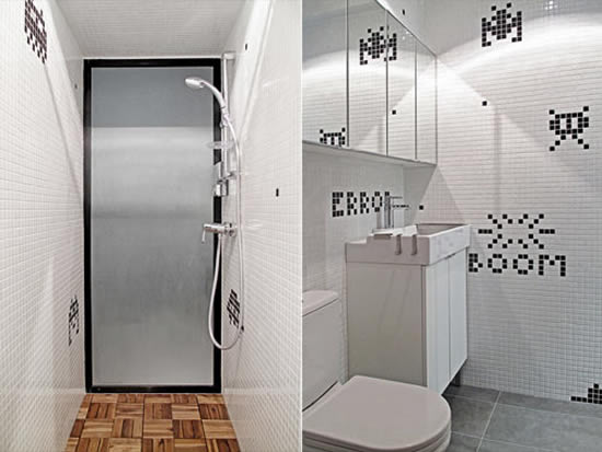 Cool Hong Kong house flaunts a Space Invader bathroom