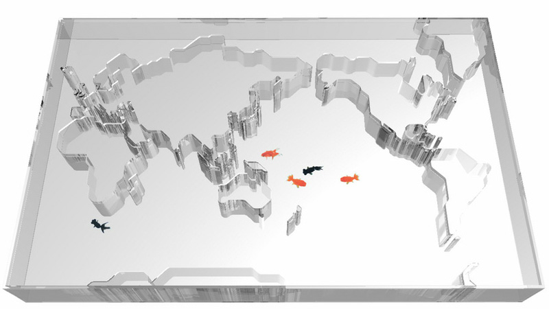 World Map Aquarium gives the impression of the fish touring the globe