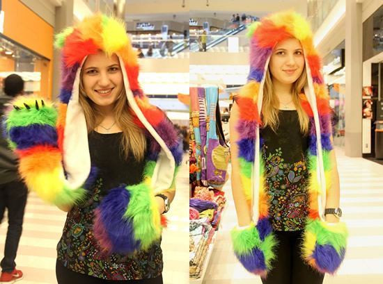 Warm up this winter with the uber-cool Rainbow Wolf Full Animal Hood Hoodie Hat