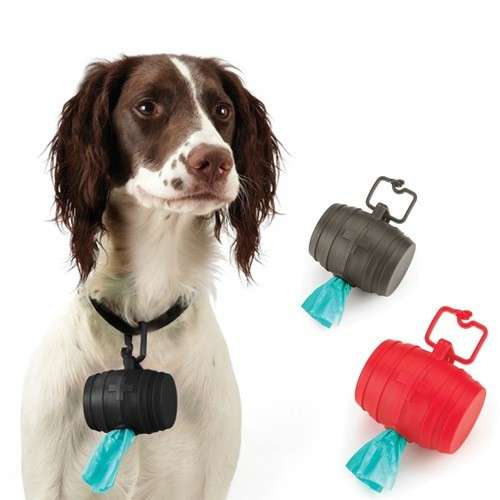 Doggie Barrel lets your pooch hold its poop bag