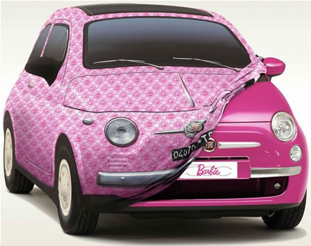 A pink Fiat 500 gift for  Barbie's 50th birthday