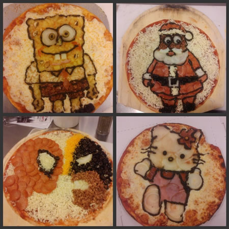 Pizza with Character Faces