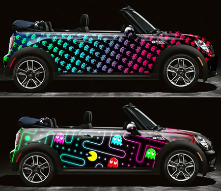 Pac-Man and Space Invaders decorate the Mini Cooper