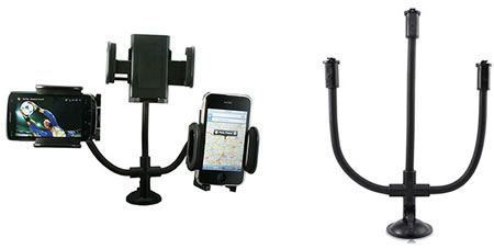 Super Universal Car Mount conveniently holds up three gadgets at once