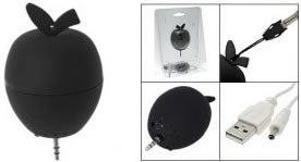 Apple shaped mini speaker doubles up as an accessory as well