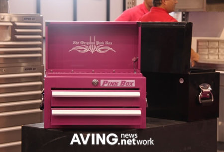Pink Box Displays it's steel storage boxes at 2008 National Hardware Show