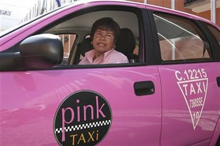 Pink taxis run only for the females in Mexico