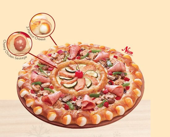 The Double Sensation pizza in Pizza Hut Singapore is two pizzas in one