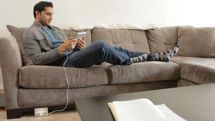 Innovative: Nuplug Portable Extension Cord can be attached to Furniture