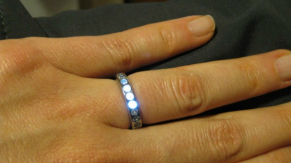 LED Engagement Rings glow when couple holds hands