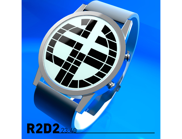 R2D2 Inspired LCD Watch With Robotic Alarm