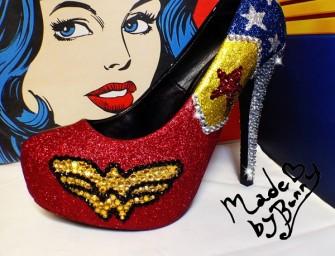 Gleam your walk with the Wonder Woman Glitter Heels