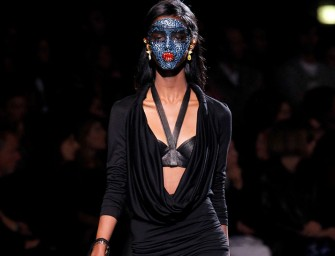 Givenchy models wear Glitter Masks at Paris Fashion Week