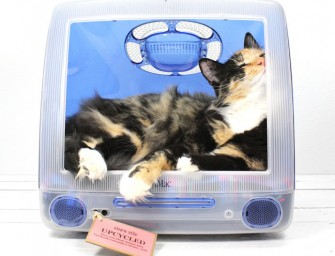 """Upcycled Apple iMac Computer Pet Bed: """"Think Different"""""""