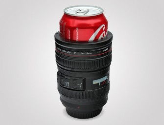 Camera Lens Drink Kooler: You beer can is cool, inside and out!