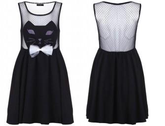 """Cat Face"" Black Dress: LBD with a twist"