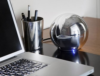 The LaCie Sphère designed by Christofle: A gorgeous mirrored silver sphere