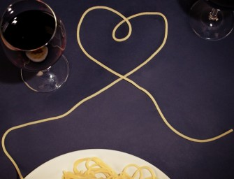 Lovers Meter-Long Spaghetti for a Romantic Meal at Home