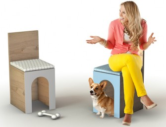 Fido Chair and Pet Kennel is ideal for a dog lover's living room