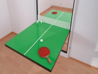 The Ping Pong Door doubles as a door and ping pong table: Space saving ingeniousness