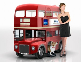 This London-style double decker bus is actually a smart doghouse!