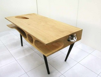 CATable: A desk with hide and seek play area for Cats!