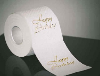 Keep it Clean: 24 Karat Gold Embossed Toilet Paper for Your Birthday