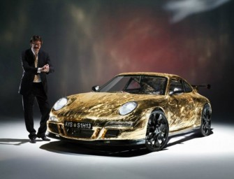Gold soaked Porsche GT3 RS made from cardboard touches speeds of up to 10 mph