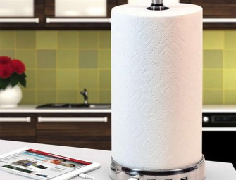 TowlHub Paper Towel Holder keep your hands clean and gadgets charged