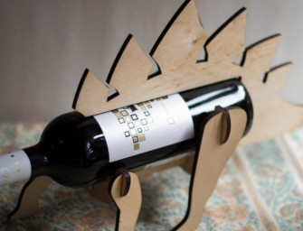 The Wine-O-Saur Wooden Dinosaur Wine Rack: Jurassic Bar