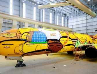 Team Brazil To Travel in Os Gemeos graffitis Boeing 737 for FIFA World Cup