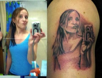Girl tattoos an image of her own selfie!