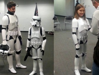 A Stormtrooper rescues a little girl who is being bullied at school