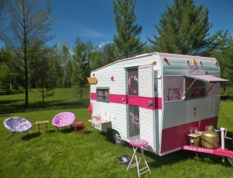 This adorable Hello Kitty Camper puts the glamour back in camping