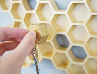 'Honey, I'm Home' Phrase Inspired Honeycomb Key Holder